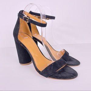 J. Crew black suede block heel sandals